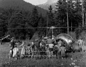 Farm Villagers and Helicopter, Austria, 1954